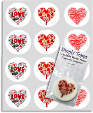 Cupcake Toppers Heart Valentines Multi  Precut Edible Paper Decoration 40mm x12