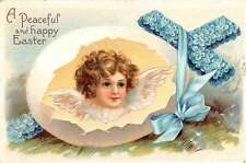Happy Easter Holy Peaceful Children Angels In Eggs Pair Of Antique PCs K22908