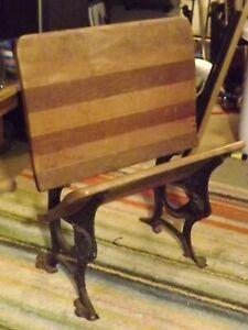Victorian Wrought Iron Oak Desk Chair (End Of Row) Rare, Buffalo New York, 1870
