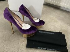 Nicholas Kirkwood Purple Velvet Gold Shoes Size 40