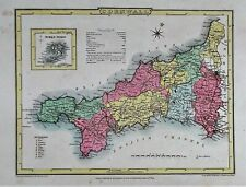 OLD ANTIQUE MAP CORNWALL c1805 by ROPER / COLE ORIGINAL HAND COLOUR