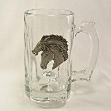 """Lead Crystal Mug Pewter Horse Heads 6"""" Tall"""