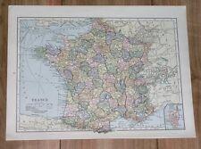 1928 ORIGINAL VINTAGE MAP OF FRANCE