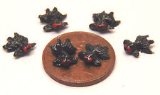 Six Polymer Clay Black Goldfish Dolls House Miniature Garden Pond Accessory J
