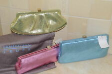 NEW LAMBERTSON TRUEX Metallic Pink  LAME leather CLUTCH BAG PURSE