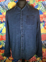 Cool Men's Blue TIMBERLAND Denim Long Sleeve Shirt Size Large Embroidered Logos