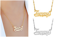 Personalized 14K Gold Sterling Silver Script Any Name Plate Necklace Diamond Cut