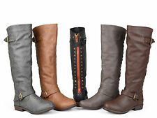 Journee Collection Women's Wide and Extra-Wide Calf Studded Knee-High Boots New