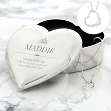 Personalised Elegant Crown Heart Trinket Box & Necklace Set Gift For Girls Women
