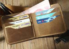 men women wallet purse cow Leather bifold bank card Holder handmade beige z877-2