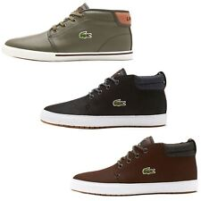 Lacoste Ampthil Terra CAM Leather High Top Trainers in Black, Brown & Khaki