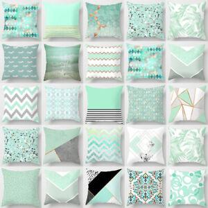 "18"" Mint Green Geometric Square Cushion Cover Throw Pillow Case Home Sofa Decor"
