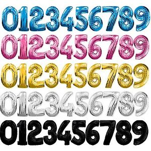 """34"""" Large Foil Number Balloons Helium 1st 2nd 18th 21st 30th 40th 50th Birthday"""