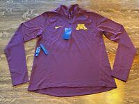 NWT Minnesota Gophers Nike Dri-Fit Women's Core 1/2 Zip Shirt Large Slim Fit 032