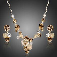 Brillantes cristales Swarovski Element Brillante Marrón Collar Aretes Joyería Set