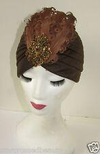 Marrón & Bronce pluma turbante campana sombrero VINTAGE AÑOS 20 40s Flapper