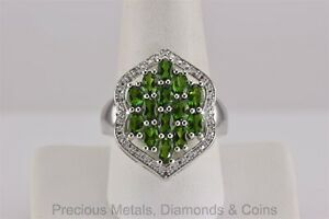 Sterling Silver Oval Green Peridot Cluster Statement Band Ring 925 Sz: 10