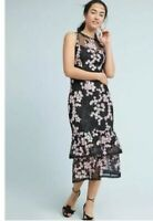 New Anthropologie Women's Shoshanna Dominic Tiered Midi Dress Size 0 Floral NWT