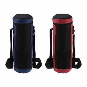 Insulated Water Bottle Holder Bag Case Adjustable Shoulder Strap Pocket Large