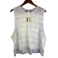 Free People Movement Love Lavender Dust Combo Cropped Muscle Tank Top L NWT