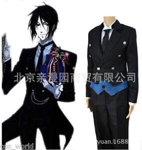Black Butler Kuroshitsuji Sebastian Michaelis Black Uniform Suit Cosplay Costume