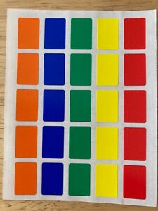 75 Small Coloured Rectangle Sticky Labels Price Stickers Blank Self Adhesive