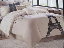 MARTEX 2pc Paris Eiffel Tower Stripe Cream Beige Tan Black Comforter Set - Twin