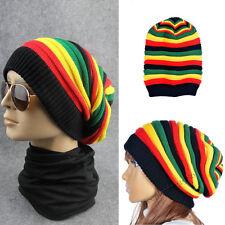 Unisex Rasta Reggae Tam Knit Beanie Beret Cap Baggy Hat Rainbow Warm Hip Hop New