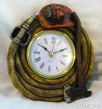 Fire Fighter Helmet, Axe and Hose Desk Clock Great for Office, Desk, Study