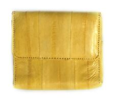 Lee Sands Eelskin Yellow Coin Purse with ID Window, Key Ring and Mirror