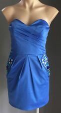 NWOT Blue Strapless Jewel Embellished Satin Look & Feel Mini Dress Size 12