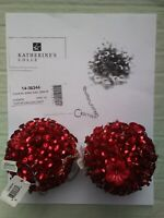 KATHERINE'S  COLLECTION Red Ornaments Set Of 2!! Cuckoo Jewel Ball ~Christmas