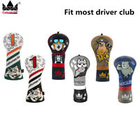 Craftsman Driver Golf Club Headcover Leather Wood #1 Dog Embroidered Head Cover