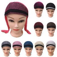 Muslim Women Turban Ice Silk Patchwork Hat Head Wrap Turban Cover Lady Base Cap