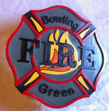 Fire Department Bowling Green 3D routed wood patch sign plaque Custom