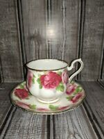Vintage Royal Albert Bone China Old English Footed Rose Tea Cup Saucer (1894).