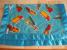 Babybedding Handmade Baby Blue TRUCKS  fleece-Neon Blue Satin  Binding edge
