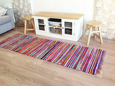 Fair Trade CHINDI Rag Rugs Striped Loomed Woven Recycled Cotton Mats 60x180cm