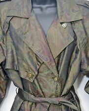 Vintage Womens size 6 Gallery Raincoat Trench Coat paisley print Olive Green