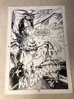 GREEN LANTERN #37 original art STUNNING SPLASH DEMON destroys SUPERBOWL 1993