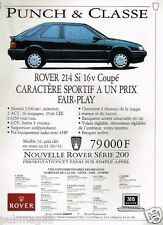 Publicité advertising 1991 Rover 214 Si 16V Coupé
