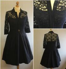Miss May Ladies Navy Blue Stretch Lace 50s Retro Fit Flare Shirt Dress L UK 16