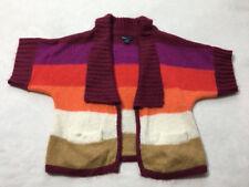 Gap Kids M 8 Penelope Berry White Tan Stripe Soft Cardigan Dolman Sweater