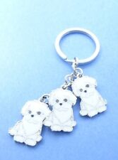 Bichon Frise Dog Breed Key Chain or Purse Charm 3 Dogs attached