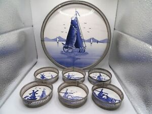 Vintage Tray and 6 Coasters Delft Blue Dutch Design made in Germany