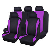 11PCS Full Set Purple Universal Polyester Mesh Car Seat Covers Set Washable