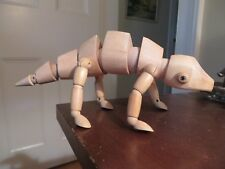 vintage wood wooden jointed lizard chameleon toy every part poseable