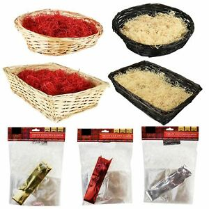 Christmas Hamper Basket Kit Cellophane Bow Make Your Own Large Craft Gift Box