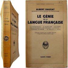 Le Génie de la Langue Francaise 1944 Albert Dauzat linguistique vocabulaire