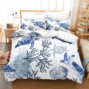 Sea Turtle Printed Comforter Set Ocean Theme Bedding Duvet cover Twin/Queen/King